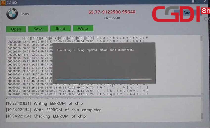 CG100 III to Repair BMW Airbag Module (16)