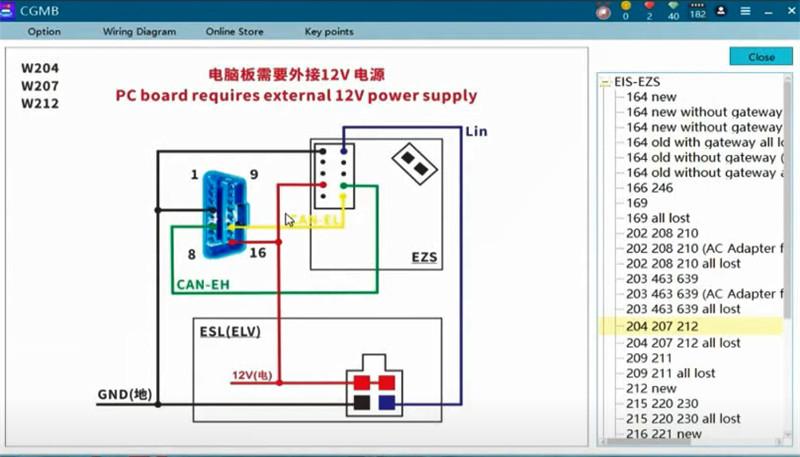 cgdi mb eis elv testing platform replace w204 1